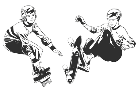skateboard park: Stock illustration. People in retro style pop art and vintage advertising. Skater on action.