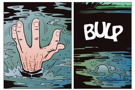 ストック イラスト。ポップアートと古い漫画のスタイルです。溺れている人の手。 写真素材 - 84327911