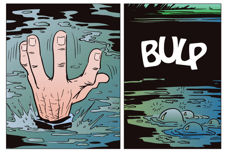 Stock illustration. Style of pop art and old comics. Hand drowning man.