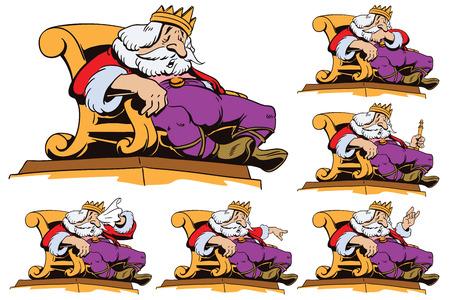 ストック イラスト。レトロなスタイルのポップアートとビンテージ広告の人々。さまざまなポーズで王位に王。  イラスト・ベクター素材