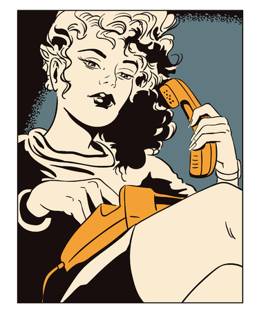 mobile communication: Stock illustration. People in retro style pop art and vintage advertising. Girl with telephone. Illustration