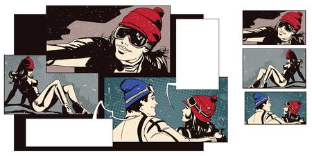 ストック イラスト。レトロなスタイルのポップアートとビンテージ広告の人々。テーマ スキー スポーツと休暇をコラージュします。スキーヤー。