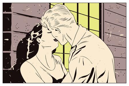 Ilustracji. Ludzie w stylu retro pop sztuki i rocznika reklamy. Kochająca para. Ilustracje wektorowe