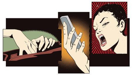 mobile communication: Stock illustration. People in retro style pop art and vintage advertising. Collage on theme communication. Girl with telephone. Illustration