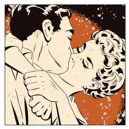 Ilustracji. Ludzie w stylu retro pop sztuki i rocznika reklamy. Kochająca para.