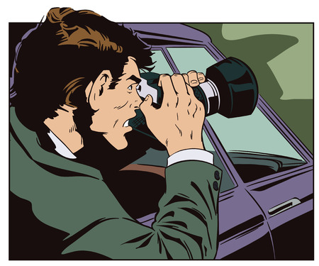Stock illustration. Man takes pictures from car window Illustration