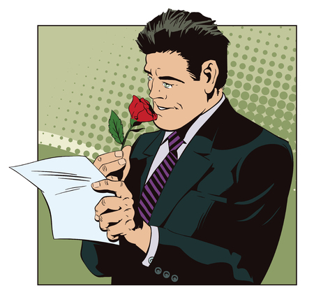 Happy man reading a letter and sniffing a flower vector