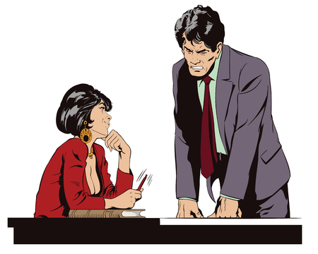 Stock illustration. People in retro style. Presentation template. Woman is flirting with a guy at work.