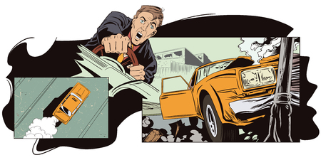 Stock illustration. People in retro style pop art and vintage advertising. Car crashed into a pillar. Illustration
