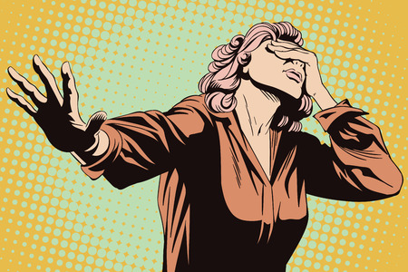 Stock illustration. People in retro style pop art and vintage advertising. Frightened woman with her hand extended.