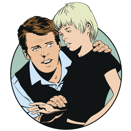 Stock illustration. People in retro style pop art and vintage advertising. Teenager and adult talking. 일러스트