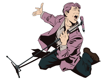 People in retro style pop art and vintage advertising. Man in karaoke. Inspired singer with microphone.