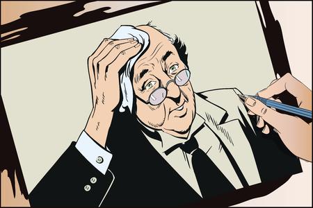 Stock illustration. People in retro style pop art and vintage advertising. Elderly man in glasses wipes forehead. Ilustração