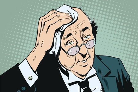 Stock illustration. People in retro style pop art and vintage advertising. Elderly man in glasses wipes forehead. Ilustração