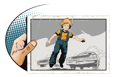 Stock illustration. People in retro style pop art and vintage advertising. Child is in danger. Kid on road. Illustration