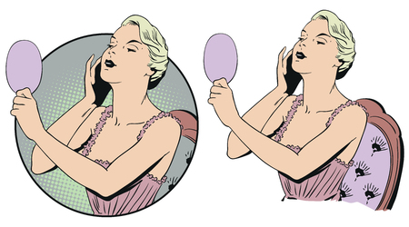 Stock illustration. People in retro style pop art and vintage advertising. Woman in negligee with mirror.