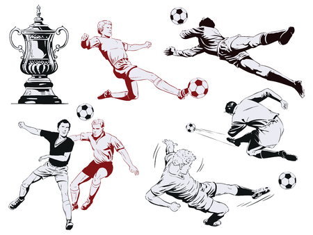 Stock illustration. People in retro style pop art and vintage advertising. Set of football players. Vettoriali