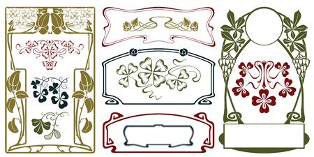 벡터 식물 짤막한 및 레이블, 배너, 스티커 및 다른 디자인을위한 테두리.