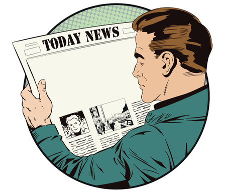 Stock illustration. People in retro style pop art and vintage advertising. Man is reading newspaper. Place for your title.