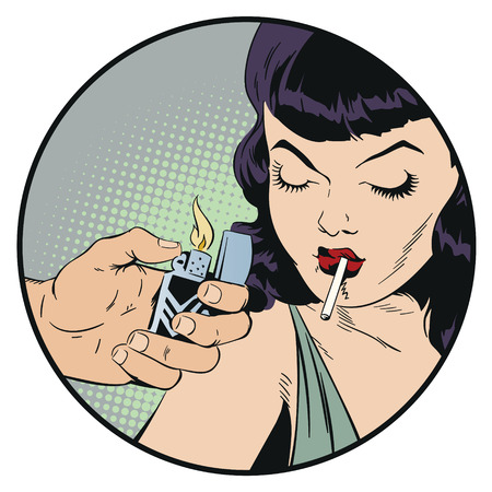 Stock illustration. People in retro style pop art and vintage advertising. Girl is smoking cigarette.