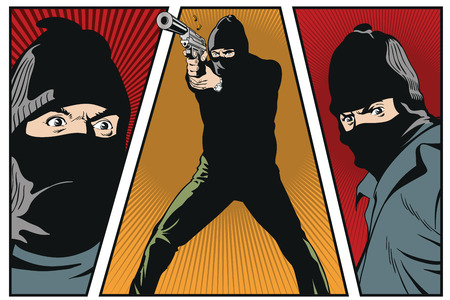 Stock illustration. People in retro style pop art and vintage advertising. Man with gun.