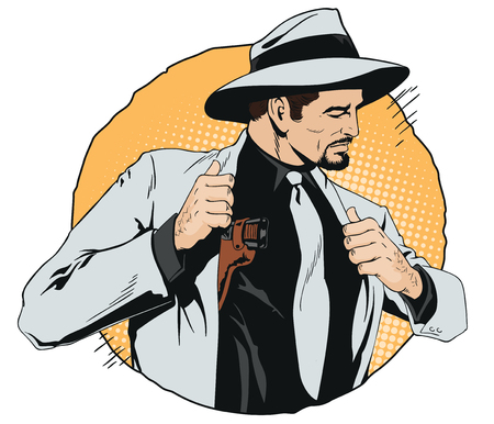 Stock illustration in retro style pop art and vintage advertising Confident cool man with gun. Illustration