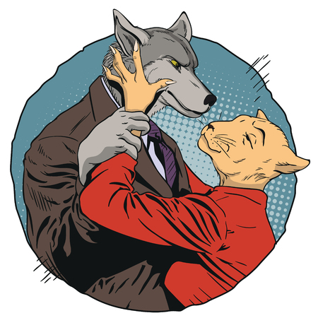 Stock illustration. People in images of animals. Angry man holds a woman by hand. Wolf and cat.