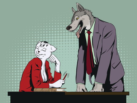 Stock illustration. People in images of animals. Coquettish girl and lustful male. Cat and wolf.
