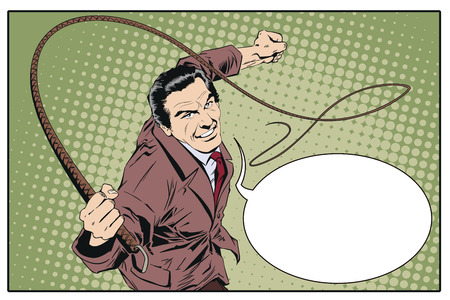 Stock illustration. People in retro style pop art and vintage advertising. Man with whip.