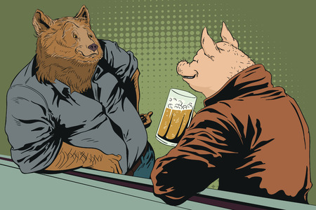 Stock illustration. People in images of animals. Talking men. Bear and pig with beer. Illustration