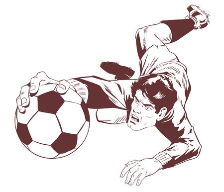 Stock illustration. Goalkeeper catches soccer ball.  イラスト・ベクター素材