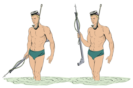 Stock illustration. Diver with gun for spearfishing.