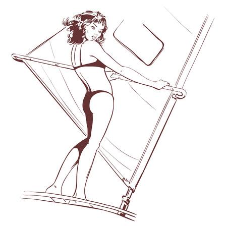 Stock illustration. Windsurfer at sea drawing illustration Stock Illustratie