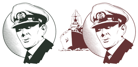 Stock illustration. Captain of warship.