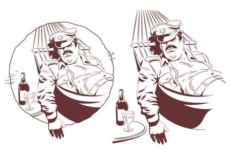 Stock illustration. Lazy soldier sleeps in hammock.