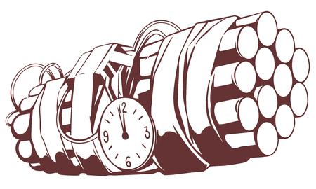 Stock illustration. Dynamite time bomb.