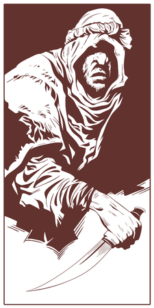 Stock illustration. Villain with knife.