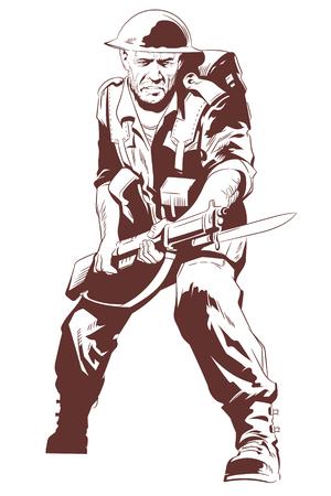 Stock illustration. Military man with machine gun.  Illustration