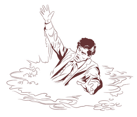 Stock vector illustration of sinking man.
