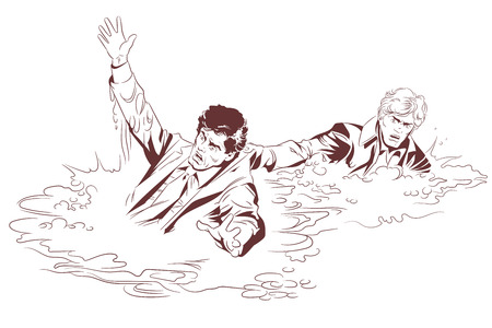 Stock illustration of man saves a drowning male.