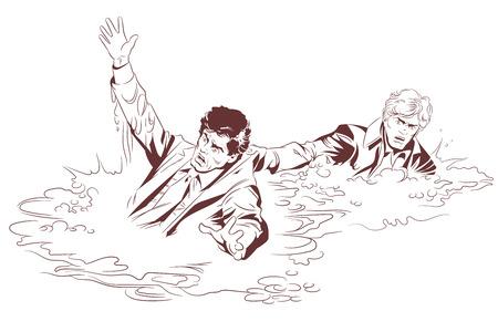 Stock Illustration des Mannes rettet einen ertrinkenden Mann.