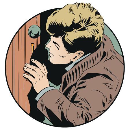Ilustración de stock. El hombre está mirando a escondidas en el ojo de la cerradura aislado sobre un fondo blanco.