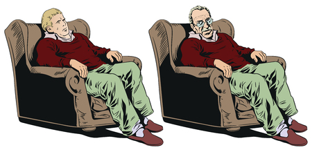 Stock illustration. Man in armchair isolated on a white background