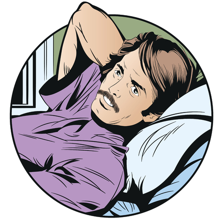 Stock illustration. Pensive man in bed isolated on a white background