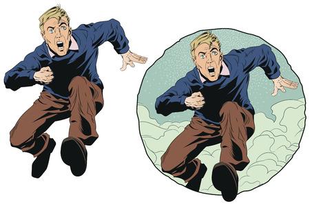 Stock illustration. Male runs and screams.