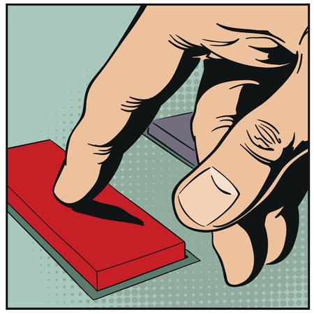 Stock illustration. Hand pushes button. Illustration
