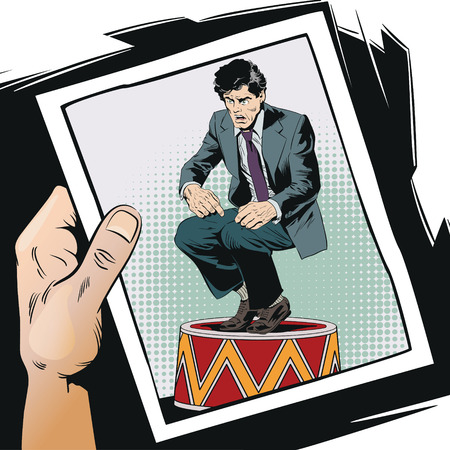 Stock illustration. People in retro style pop art and vintage advertising. Businessman on circus pedestal. Vectores