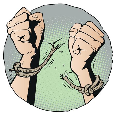 Stock illustration. Hands tearing shackles.
