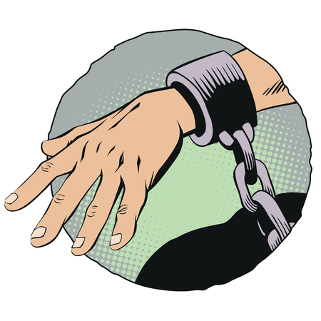 Stock illustration. Handcuffs on hands.
