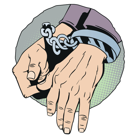 Stock illustration. Handcuffs on hands.